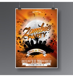 Halloween zombie party flyer design vector