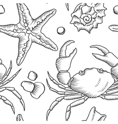 Seamless pattern with starfish and crab vector