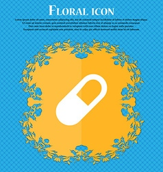 Pill icon sign floral flat design on a blue vector