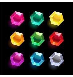 Set of cartoon hexagon different color crystal vector