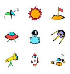cosmos icons set cartoon style vector image