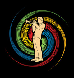 trumpeter player a man play trumpet classic music vector image