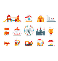 amusement park flat elements fun icons vector image