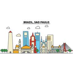 brazil sao paulo city skyline architecture vector image