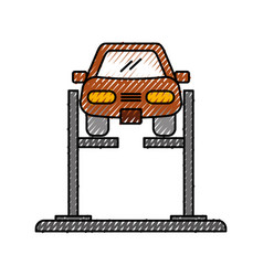 Cartoon car with alignment device at wheel vector