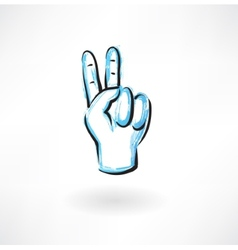 Two fingers grunge icon vector