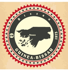 Vintage label-sticker cards of guinea-bissau vector