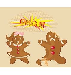 Bitten gingerbread man vector