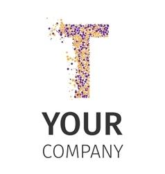 Alphabet particles logotype Letter-T vector image