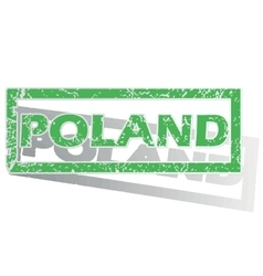 Green outlined poland stamp vector