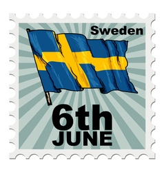 Post stamp of national day of sweden vector