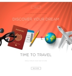 Tourism website template time to travel vector