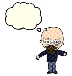 Cartoon genius scientist with thought bubble vector