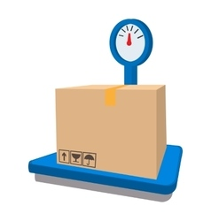 Scales for weighing with box cartoon icon vector
