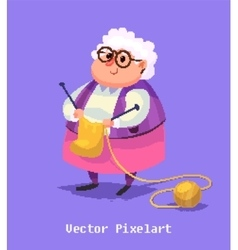 Funny old woman character isolated vector