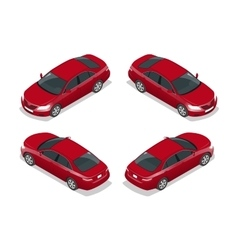Red sedan car flat isometric high quality city vector