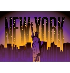 New york city and statue of liberty vector