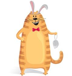 Cat wore rabbit ears vector