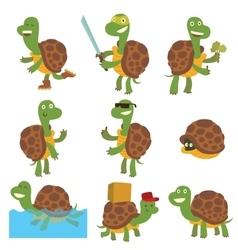 Cartoon turtles set vector image