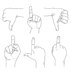 Hands set outline part 4 rude gestures fuck you vector