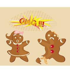 Bitten gingerbread man vector