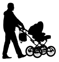 black silhouettes father with pram on white vector image vector image