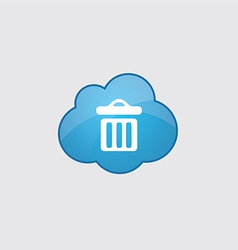 Blue cloud trash bin icon vector image
