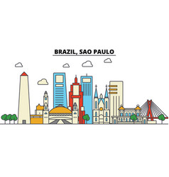 Brazil sao paulo city skyline architecture vector