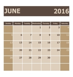 Calendar june 2016 week starts from sunday vector