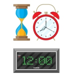 Clocks set hourglass analog and digital clock vector