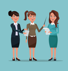 Color background full body set of executive women vector
