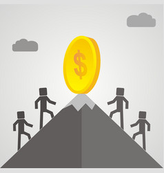 Competitors is climbing mountain to get the money vector