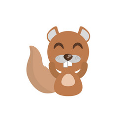 Cute beaver animal character funny vector