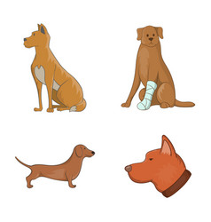 dog icon set cartoon style vector image