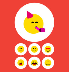 Flat icon gesture set of cheerful sad party time vector