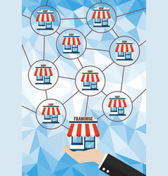Franchise business system with polygon background vector