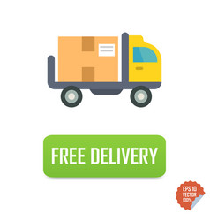 Free delivery button with truck free delivery vector