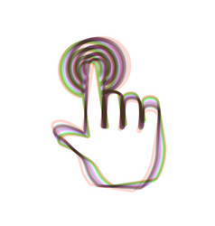 Hand click on button colorful icon shaked vector
