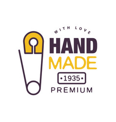 handmade with love logo template premium since vector image