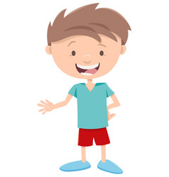 Happy little boy character vector