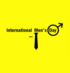 international mens day male symbol and tie on a vector image vector image