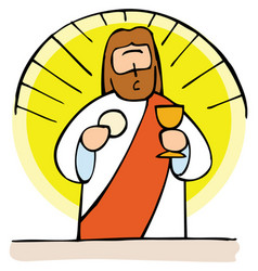 jesus present in the holy communion vector image vector image