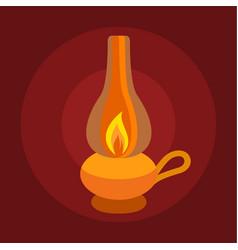 kerosene lamp icon flat style vector image