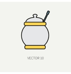 Line flat color kitchenware icons - sugar vector image