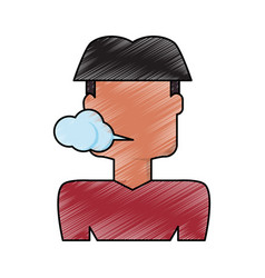 Man smoking cartoon vector