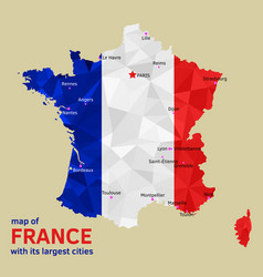 Map of france and its largest cities vector