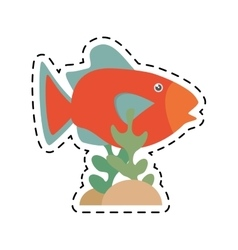 Orange fish marine ecosystem life coral vector