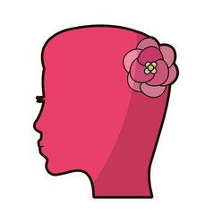 pink silhouette mother female flower vector image vector image