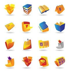 Realistic icons set for books and papers vector image vector image