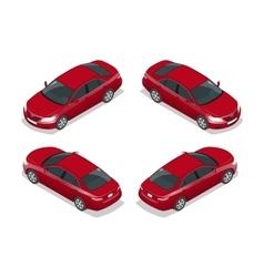 Red Sedan Car Flat isometric high quality city vector image vector image